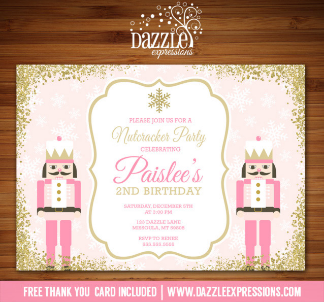 Printable pink and gold glitter nutcracker birthday invitation 1st pink and gold glitter nutcracker birthday invitation free thank you card included filmwisefo