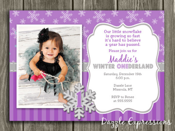 Winter Snowflake Birthday Invitation 9 - FREE thank you card included