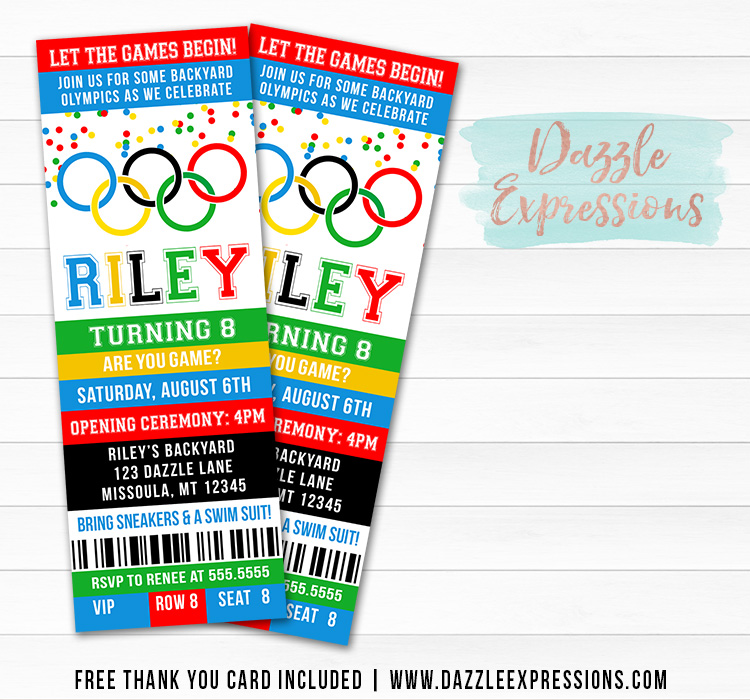 Olympic Games Ticket Invitation - FREE thank you card included