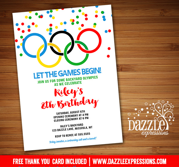 Printable Kids Olympic Games Birthday Invitation FREE thank you card