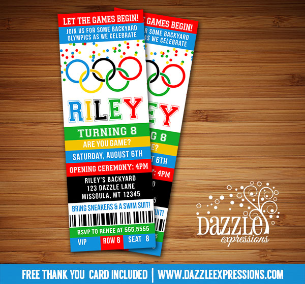 Printable Kids Olympic Games Birthday Invitation FREE thank you
