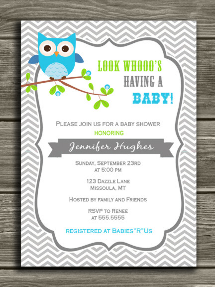 Printable Boy Owl Baby Shower Invitation - Gray and White Chevron ...