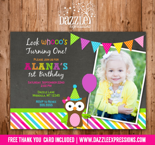 Owl Chalkboard Birthday Invitation - FREE Thank You Card Included