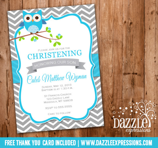 Boy Owl Christening or Baptism Invitation - FREE thank you card included