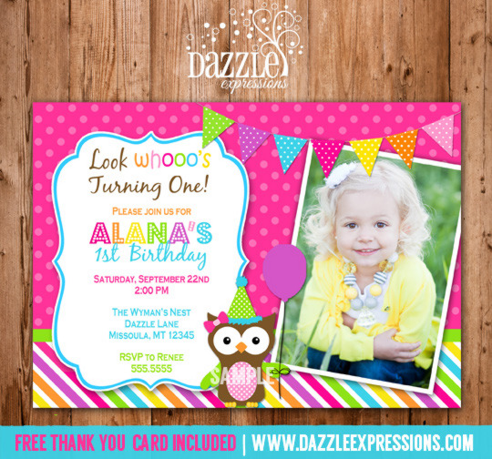 printable girl owl birthday photo invitation girls first birthday