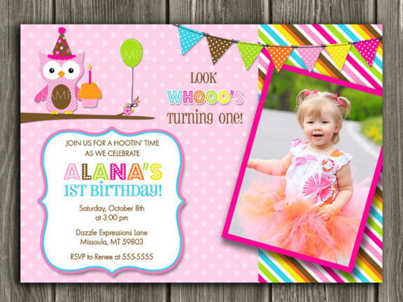 Owl Invitation 3 - Thank You Card Included