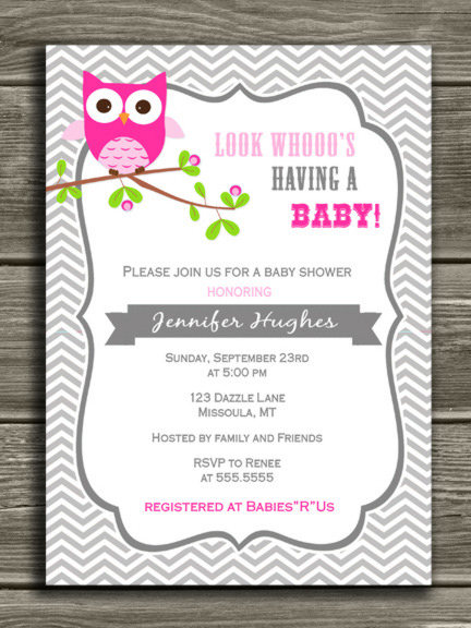 Pink Owl Chevron Invitation - Thank you card included