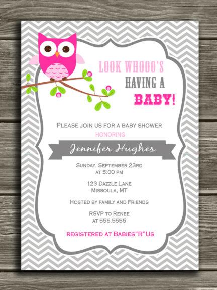 printable pink owl baby shower invitation baby girl gray chevron
