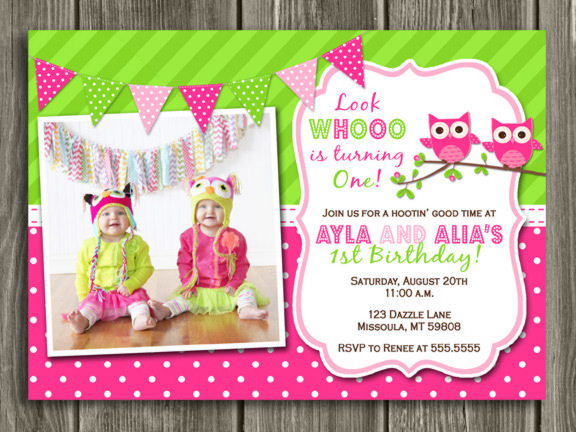 Pink and Green Owl Invitation - Twins - Thank You Card Included