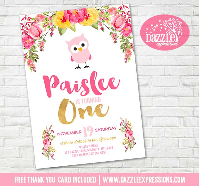 Floral And Owl Birthday Invitation 1