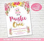 Floral and Owl Birthday Invitation 1 - FREE thank you card