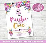 Floral and Owl Birthday Invitation 2 - FREE thank you card