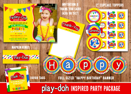 printable playdoh inspired birthday party package