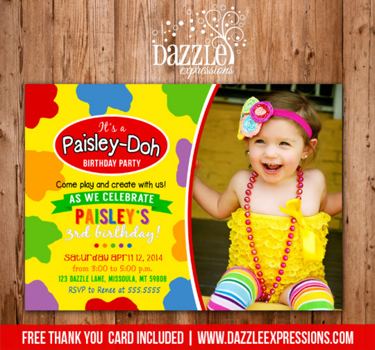 Playdoh Inspired Birthday Invitation 4 - FREE Thank You Card Included