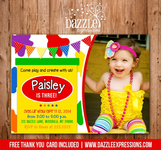Playdoh Inspired Birthday Invitation 2 - Thank You Card Included