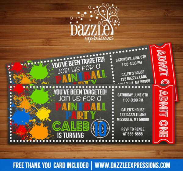 Printable Paintball Chalkboard Ticket Birthday Invitaiton ...