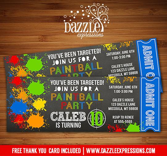Printable Paintball Chalkboard Ticket Birthday Invitation