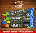Paintball Chalkboard Ticket Invitation 2 - FREE thank you card
