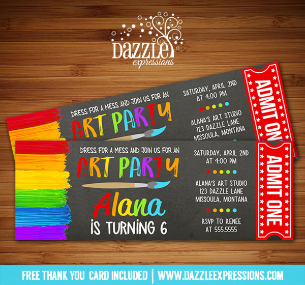 Painting Art Party Chalkboard Ticket Invitation - FREE thank you card included