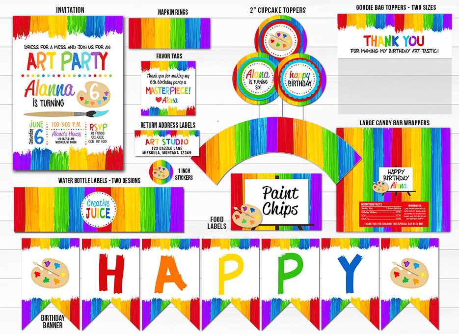 photo regarding Free Printable Paint Party Invitations named Printable Portray Artwork Occasion Birthday Celebration Bundle Decor - Youngsters Artwork or Paint Celebration Invitation - Free of charge thank yourself card involved