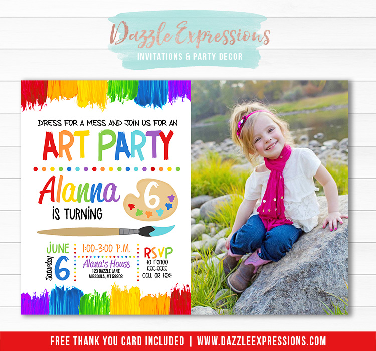 Painting Art Party Invitation 4 - FREE thank you card