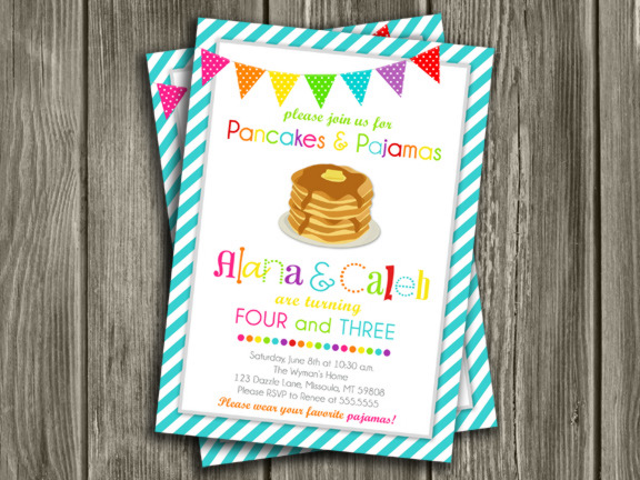 Printable kids modern pancake and pajamas birthday invitation pancake and pajamas birthday invitation 2 thank you card included filmwisefo