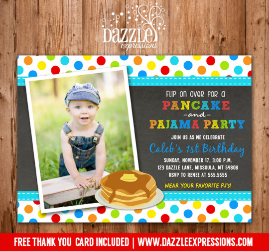 Pancake and Pajamas Chalkboard Boy Birthday Invitation - FREE thank you card included