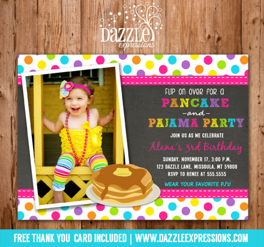 Pancake and Pajamas Chalkboard Girl Birthday Invitation - FREE thank you card included