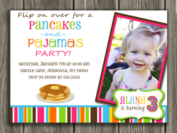 Printable Pancake and Pajamas Birthday Invitation Kids Breakfast – Pajama Party Invites