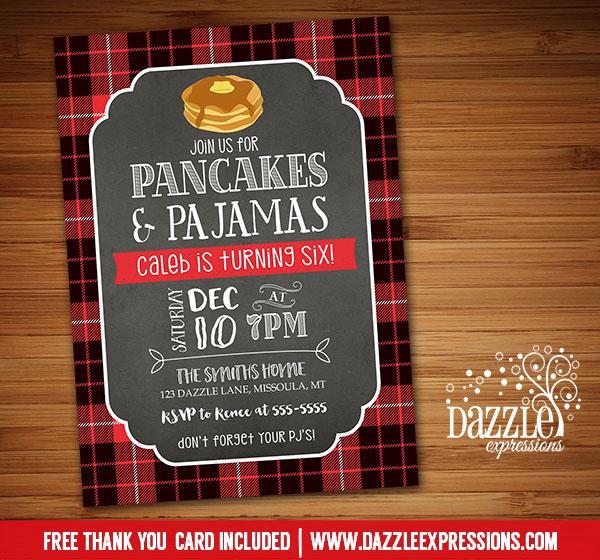 printable plaid pancake and pajamas birthday invitation
