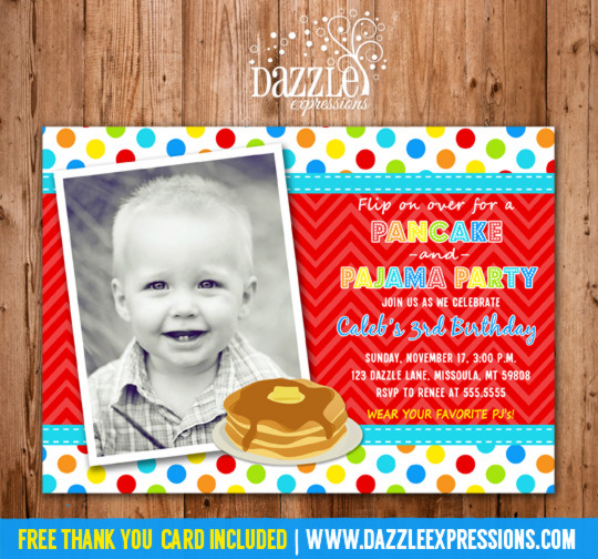 Boy Pancakes and Pajamas Birthday Invitation - Thank You Card Included