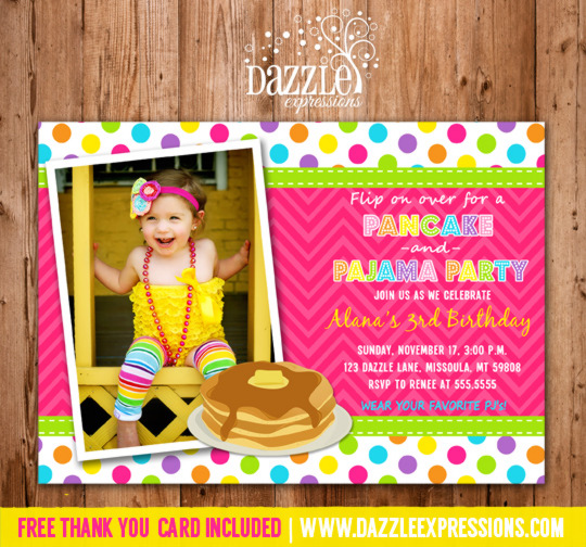 Printable girl pancake and pajamas birthday invitation breakfast pancakes and pajamas birthday invitation 1 thank you card included filmwisefo Gallery