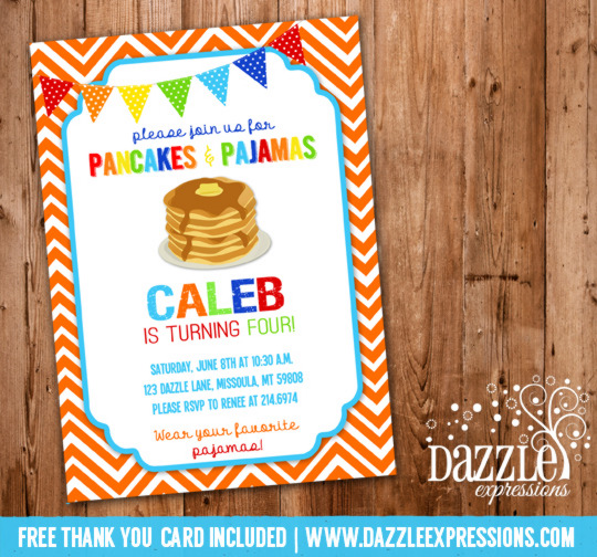 Pancakes and Pajamas Birthday Invitation 6 - FREE Thank You Card Included