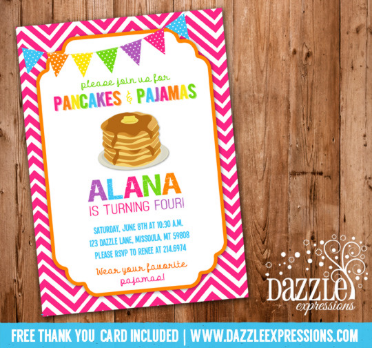 Pancakes and Pajamas Birthday Invitation 5 - FREE Thank You Card Included