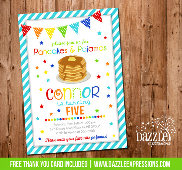Pancake and Pajamas Birthday Invitation 5 - Thank You Card Included