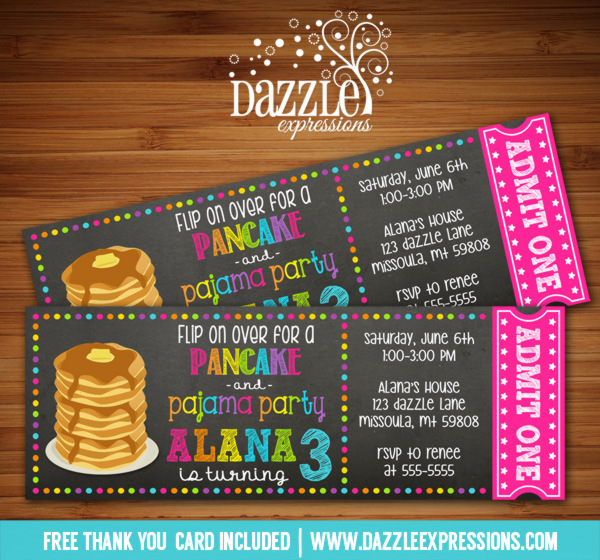 Pancake and Pajamas Chalkboard Ticket Invitation 1 - FREE thank you card included