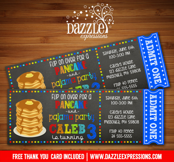 Pancake and Pajamas Chalkboard Ticket Invitation 2 - FREE thank you card included