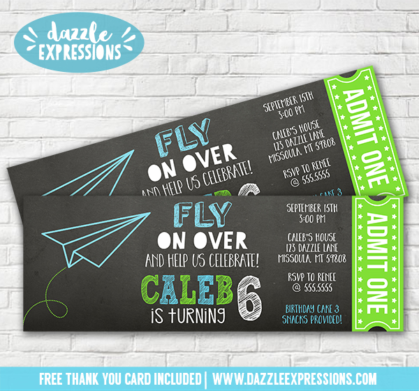 Paper Airplane Chalkboard Ticket Invitation - FREE thank you card