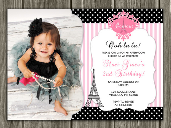 Printable Girl Paris Birthday Photo Invitation