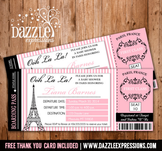 Paris Boarding Pass Invitation - Ticket - Baby Shower