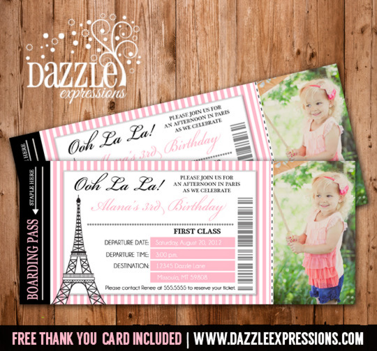printable paris boarding pass invitation