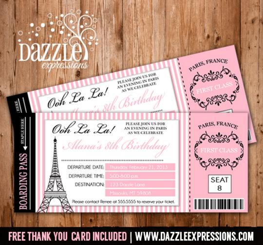 Paris Boarding Pass Birthday Invitation 1