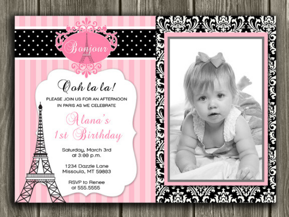 Paris Invitation 2 - Thank You Card Included
