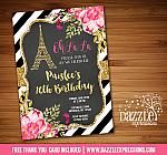 Paris Floral and Gold Invitation 1 - FREE thank you card included
