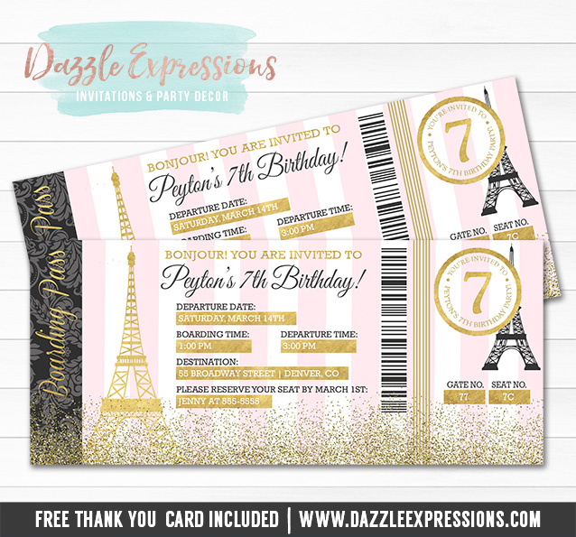 Printable pink and gold paris boarding pass invitation paris paris boarding pass birthday invitation 3 free thank you card filmwisefo