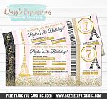Paris Boarding Pass Birthday Invitation 3 - FREE thank you card