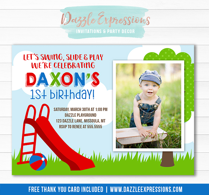Park or Playground Invitation 5 - FREE thank you card included