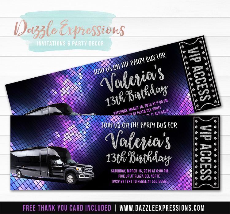 Party Bus Ticket Invitations
