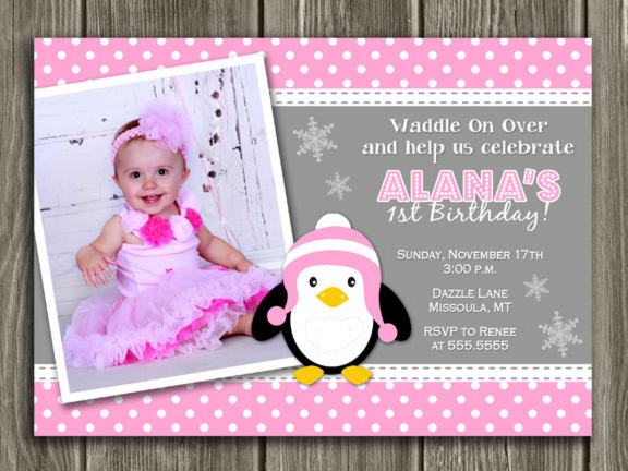 Printable Girl Penguin Birthday Photo Invitation Winter Birthay Party