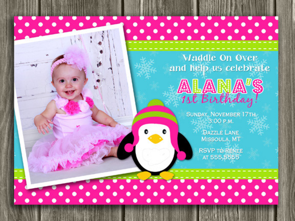 Penguin Birthday Invitation 2 - FREE thank you card included